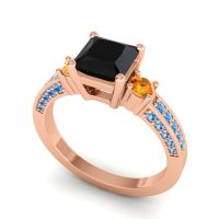 Art Deco Three Stone Stambha Black Onyx Ring with Citrine and Swiss Blue Topaz in 18K Rose Gold