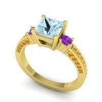 Aquamarine Art Deco Three Stone Stambha Ring with Amethyst and Citrine in 18k Yellow Gold
