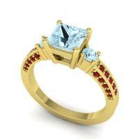 Aquamarine Art Deco Three Stone Stambha Ring with Garnet in 18k Yellow Gold