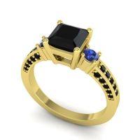 Black Onyx Art Deco Three Stone Stambha Ring with Blue Sapphire in 14k Yellow Gold