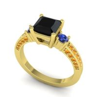 Black Onyx Art Deco Three Stone Stambha Ring with Blue Sapphire and Citrine in 14k Yellow Gold