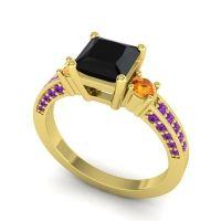 Art Deco Three Stone Stambha Black Onyx Ring with Citrine and Amethyst in 18k Yellow Gold