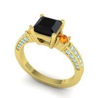 Black Onyx Art Deco Three Stone Stambha Ring with Citrine and Aquamarine in 18k Yellow Gold