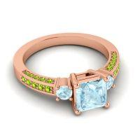 Art Deco Three Stone Stambha Aquamarine Ring with Peridot in 18K Rose Gold