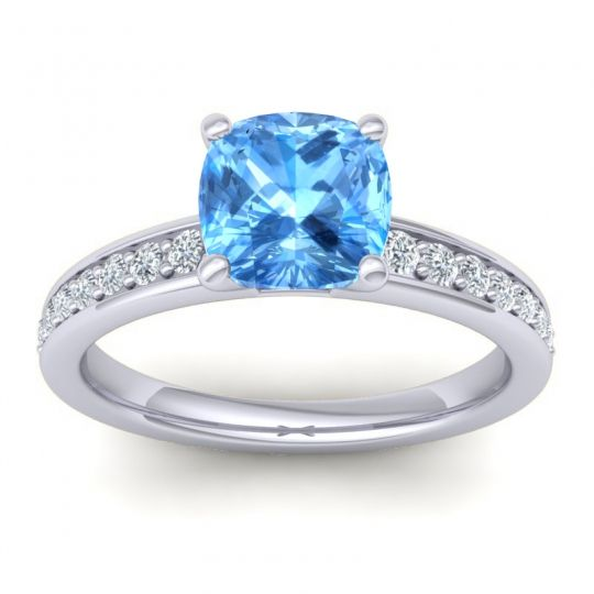 Classic Cushion Pave Asada Swiss Blue Topaz Ring with Diamond in Platinum