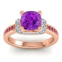 Halo Cushion Aksika Amethyst Ring with Aquamarine and Ruby in 18K Rose Gold