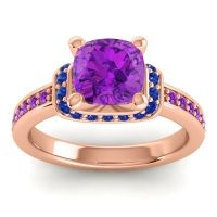 Halo Cushion Aksika Amethyst Ring with Blue Sapphire in 14K Rose Gold