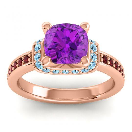 Halo Cushion Aksika Amethyst Ring with Aquamarine and Garnet in 14K Rose Gold