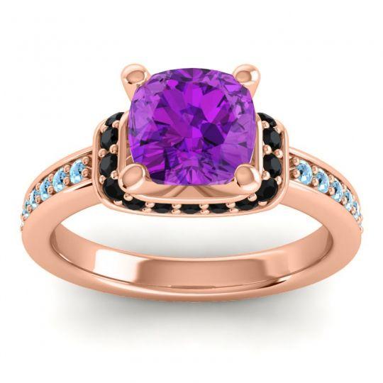 Halo Cushion Aksika Amethyst Ring with Black Onyx and Aquamarine in 18K Rose Gold