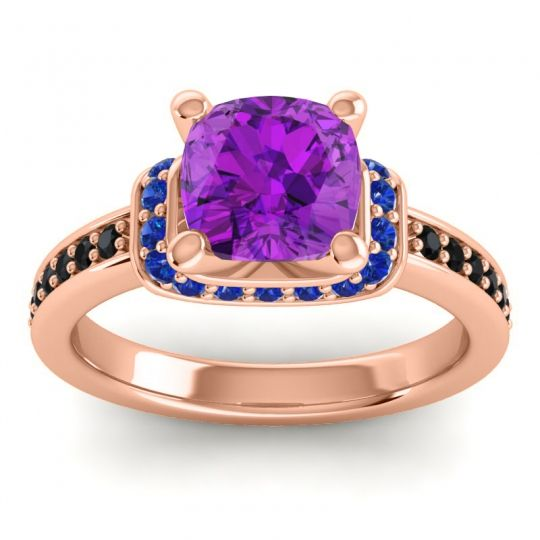 Halo Cushion Aksika Amethyst Ring with Blue Sapphire and Black Onyx in 14K Rose Gold