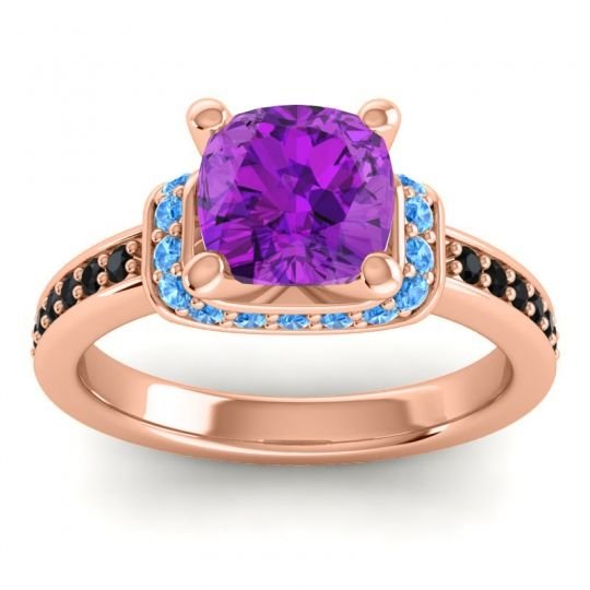 Halo Cushion Aksika Amethyst Ring with Swiss Blue Topaz and Black Onyx in 14K Rose Gold
