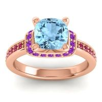 Halo Cushion Aksika Aquamarine Ring with Amethyst and Ruby in 18K Rose Gold