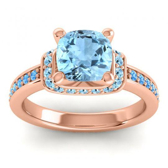 Halo Cushion Aksika Aquamarine Ring with Swiss Blue Topaz in 18K Rose Gold