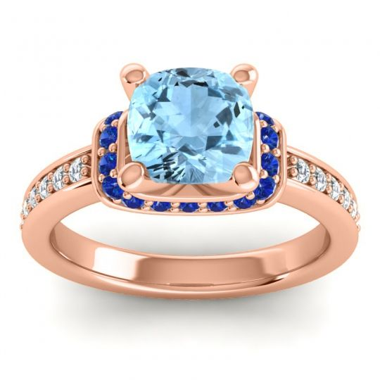 Halo Cushion Aksika Aquamarine Ring with Blue Sapphire and Diamond in 18K Rose Gold
