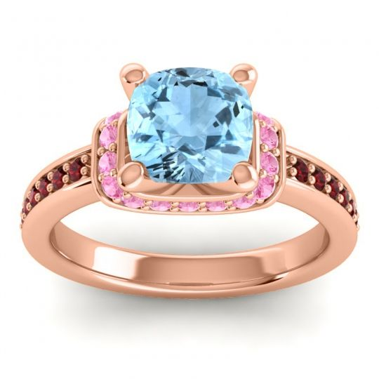 Halo Cushion Aksika Aquamarine Ring with Pink Tourmaline and Garnet in 14K Rose Gold