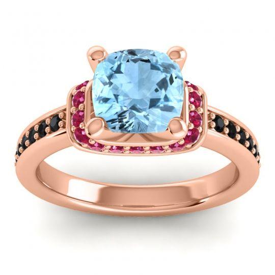 Halo Cushion Aksika Aquamarine Ring with Ruby and Black Onyx in 18K Rose Gold