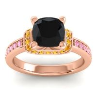 Halo Cushion Aksika Black Onyx Ring with Citrine and Pink Tourmaline in 14K Rose Gold
