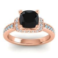 Halo Cushion Aksika Black Onyx Ring with Diamond and Aquamarine in 14K Rose Gold