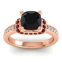 Halo Cushion Aksika Black Onyx Ring with Garnet and Diamond in 14K Rose Gold
