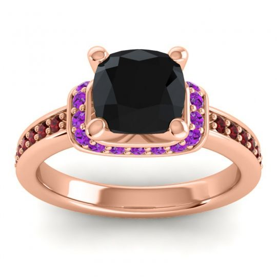 Halo Cushion Aksika Black Onyx Ring with Amethyst and Garnet in 18K Rose Gold