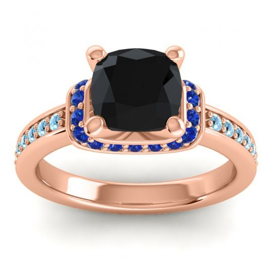 Halo Cushion Aksika Black Onyx Ring with Blue Sapphire and Aquamarine in 18K Rose Gold