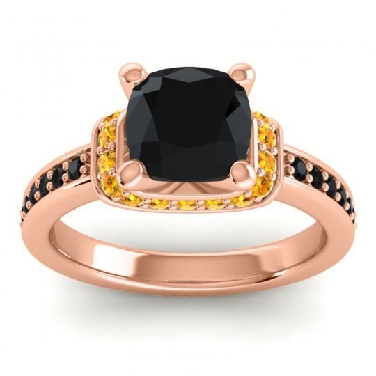 Halo Cushion Aksika Black Onyx Ring with Citrine in 18K Rose Gold