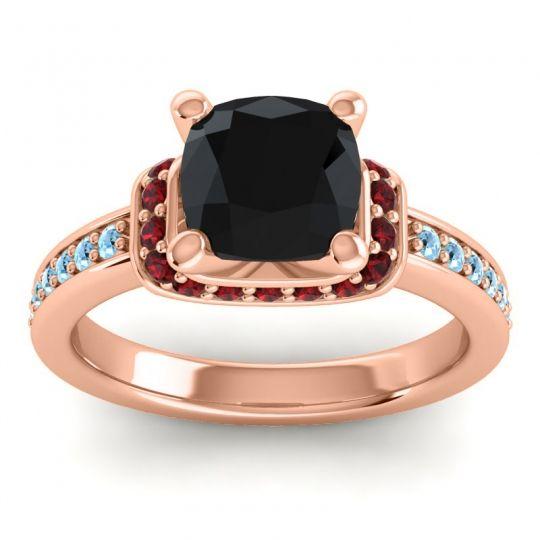 Halo Cushion Aksika Black Onyx Ring with Garnet and Aquamarine in 14K Rose Gold