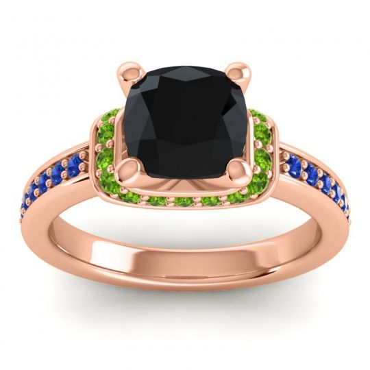 Halo Cushion Aksika Black Onyx Ring with Peridot and Blue Sapphire in 14K Rose Gold