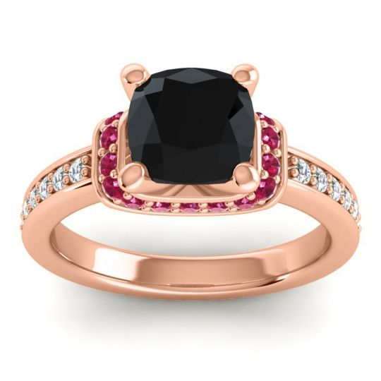 Halo Cushion Aksika Black Onyx Ring with Ruby and Diamond in 18K Rose Gold