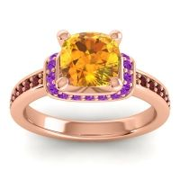 Halo Cushion Aksika Citrine Ring with Amethyst and Garnet in 18K Rose Gold