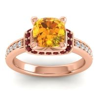 Halo Cushion Aksika Citrine Ring with Garnet and Diamond in 14K Rose Gold