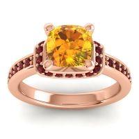 Halo Cushion Aksika Citrine Ring with Garnet in 18K Rose Gold