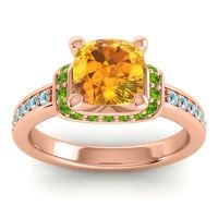 Halo Cushion Aksika Citrine Ring with Peridot and Aquamarine in 18K Rose Gold