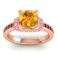 Halo Cushion Aksika Citrine Ring with Pink Tourmaline and Garnet in 14K Rose Gold