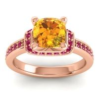 Halo Cushion Aksika Citrine Ring with Ruby in 14K Rose Gold