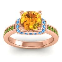 Halo Cushion Aksika Citrine Ring with Swiss Blue Topaz and Peridot in 14K Rose Gold