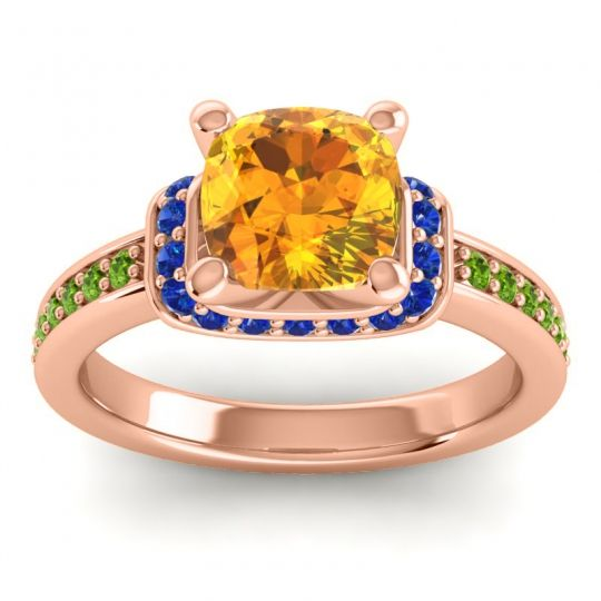 Halo Cushion Aksika Citrine Ring with Blue Sapphire and Peridot in 18K Rose Gold
