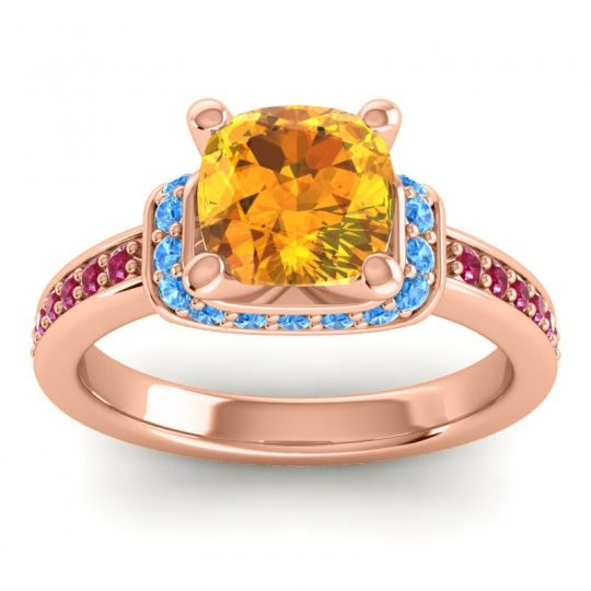 Halo Cushion Aksika Citrine Ring with Swiss Blue Topaz and Ruby in 14K Rose Gold
