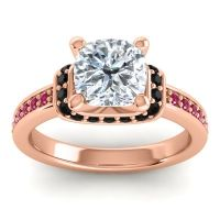 Halo Cushion Aksika Diamond Ring with Black Onyx and Ruby in 14K Rose Gold