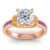 Halo Cushion Aksika Diamond Ring with Citrine and Amethyst in 14K Rose Gold