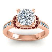 Halo Cushion Aksika Diamond Ring with Garnet and Aquamarine in 14K Rose Gold