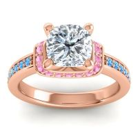 Halo Cushion Aksika Diamond Ring with Pink Tourmaline and Swiss Blue Topaz in 18K Rose Gold