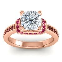 Halo Cushion Aksika Diamond Ring with Ruby and Garnet in 14K Rose Gold