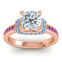 Halo Cushion Aksika Diamond Ring with Swiss Blue Topaz and Amethyst in 14K Rose Gold
