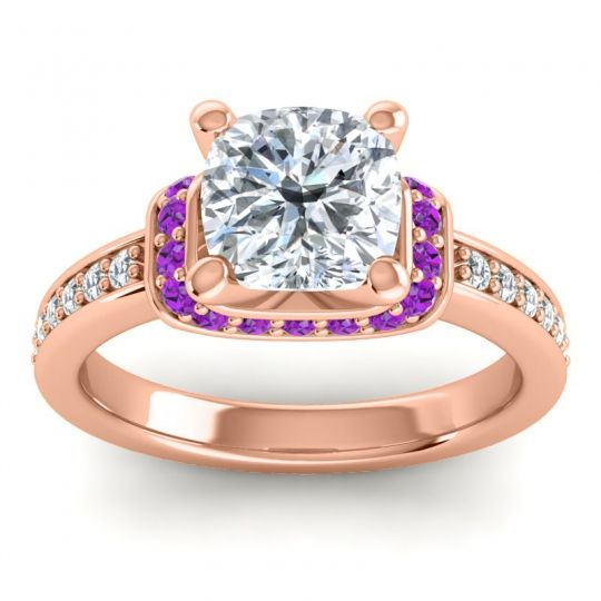Halo Cushion Aksika Diamond Ring with Amethyst in 18K Rose Gold