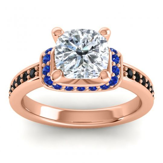 Halo Cushion Aksika Diamond Ring with Blue Sapphire and Black Onyx in 18K Rose Gold