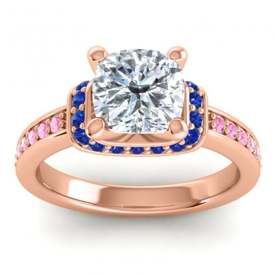 Halo Cushion Aksika Diamond Ring with Blue Sapphire and Pink Tourmaline in 14K Rose Gold