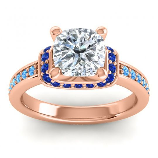 Halo Cushion Aksika Diamond Ring with Blue Sapphire and Swiss Blue Topaz in 14K Rose Gold