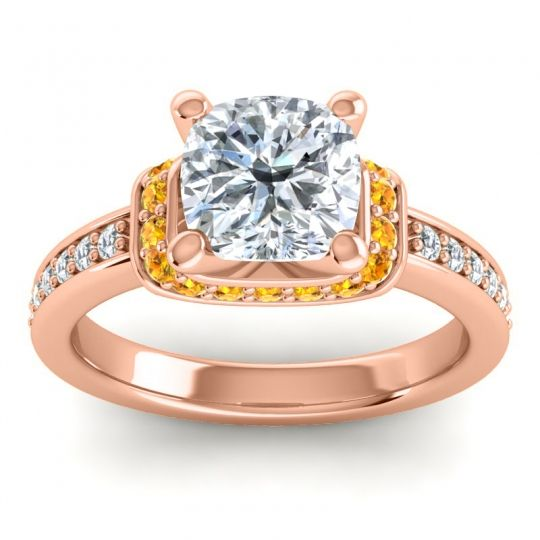 Halo Cushion Aksika Diamond Ring with Citrine in 14K Rose Gold