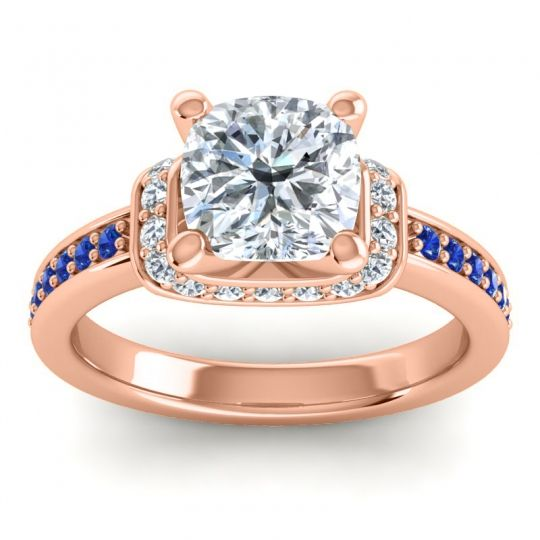 Halo Cushion Aksika Diamond Ring with Blue Sapphire in 18K Rose Gold